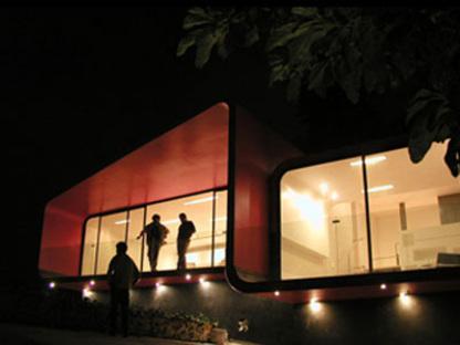 Tecamachalco (Ciudad de Méjico). Depandance Roja. Michel Rojkind. 2003