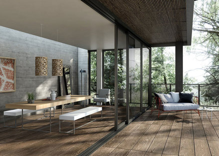 Baldosas de gres efecto madera para espacios interiores y exteriores