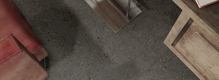 Armonía y naturaleza: grandes losas Maxfine efecto cemento Walk On y Cluster