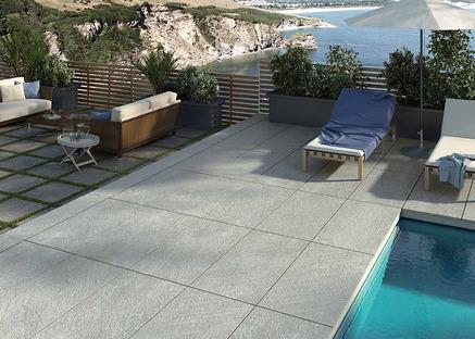 Revestimientos de Porcelaingres para exteriores: efecto piedra, cemento y madera