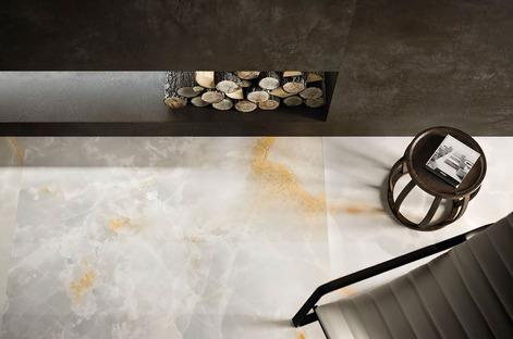 Efecto resina y cemento Ultra Ariostea: elegancia y armonía de los colores neutros
