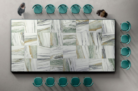 La belleza del conjunto y el encanto del detalle, superficies Liquid Cosmo y Cosmic Marble