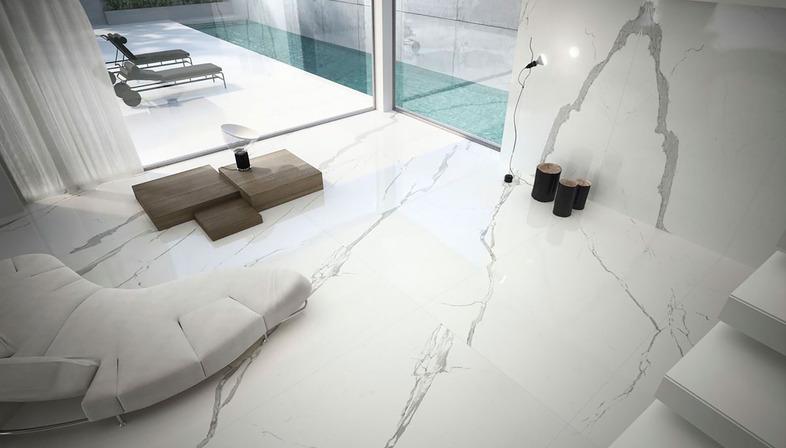 Mármoles blancos Ariostea: revestimientos y muebles de cerámica técnica