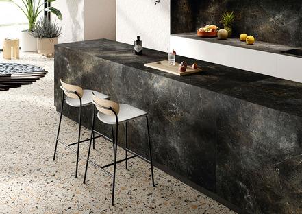 Negro y verde, colores de tendencia en la cocina: Black Diamond y Alpi Chiaro Venato de SapienStone