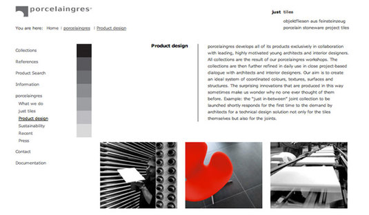 "Detalle de sitio web de la empresa ""Product Design"""