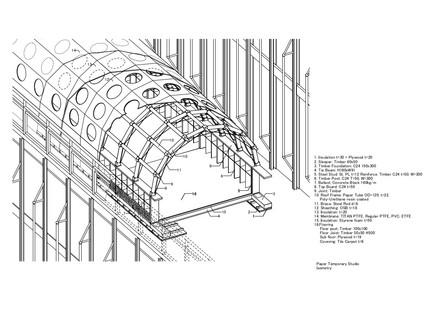 Estudio con estructura de tubos de cartón en Kioto y París – Shigeru Ban