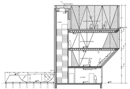 Mini torre del deporte con fachada de aluminio de Dorte Mandrup