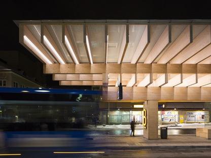 Una estructura de cemento y madera laminar para una marquesina de Umeå, en Suecia