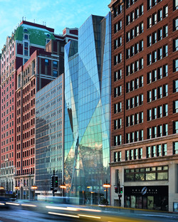 Vidrio y acero para la fachada del Spertus Institute, por Krueck & Sexton