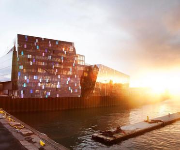 Fachada tridimensional de acero y cristal para el HARPA, por Reykjavik
