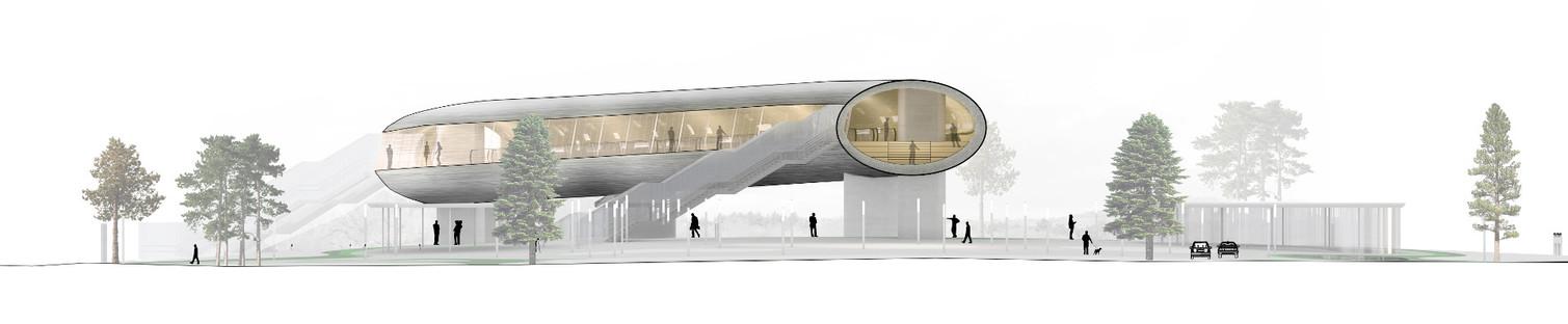 La KØGE Nord Station es un túnel de acero, recubierto de aluminio y madera