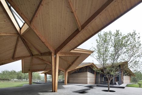 Forest building de madera laminada, tierra y cemento, por TAO