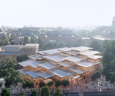 Centro de Estudiantes de la Johns Hopkins University, por BIG, realizado con madera y vidrio