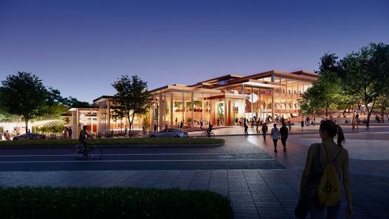 Centro de Estudiantes de la Johns Hopkins University, por BIG, realizado con madera y vidrio