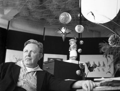Bruce Goff in his studio, Goff Archive, Ryerson & Burnham Archives